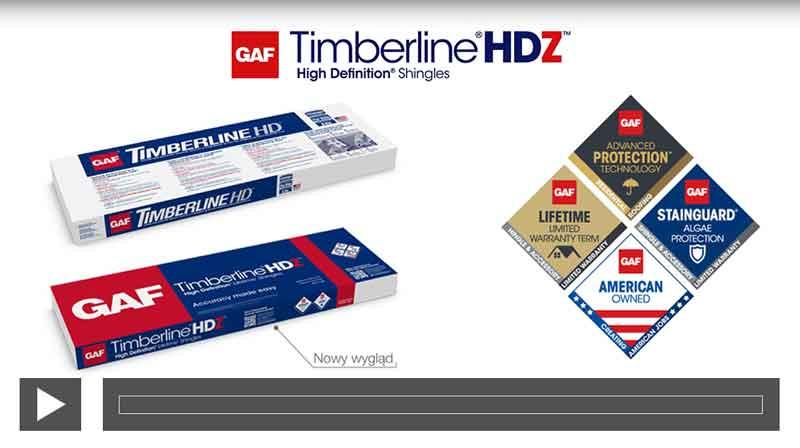 nowe opakowanie amerykańskich gontów bitumicznych GAF Timberline HD