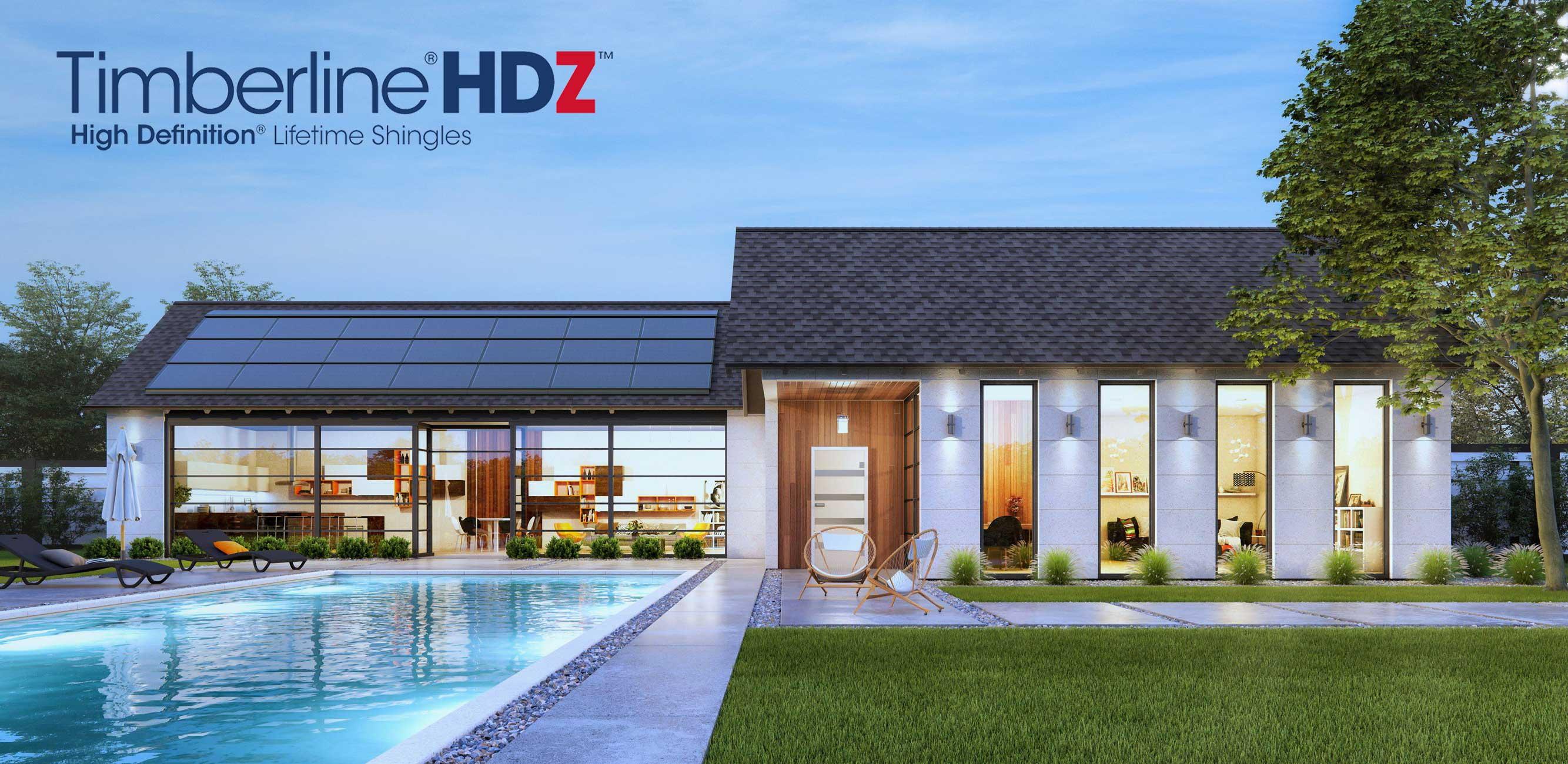 nowoczesny dom parterowy pokryty amerykańskim gontem bitumicznym firmy GAF model Timberline HDZ w kolorze Charcoal antracytowy