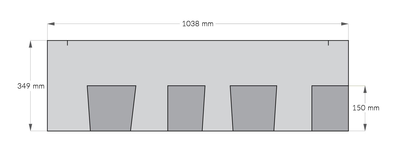rysunek techniczny gontu z dożywotnią gwarancją Owens Corning TruDefinition Duration, pokrycia dachowe i akcesoria uzupełniające z USA, Kanada