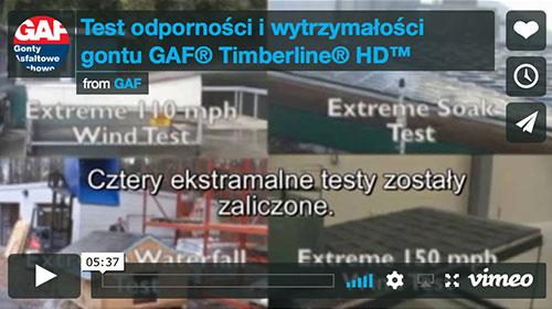 Test wytrzymałości gontu bitumicznego GAF Timberline HD