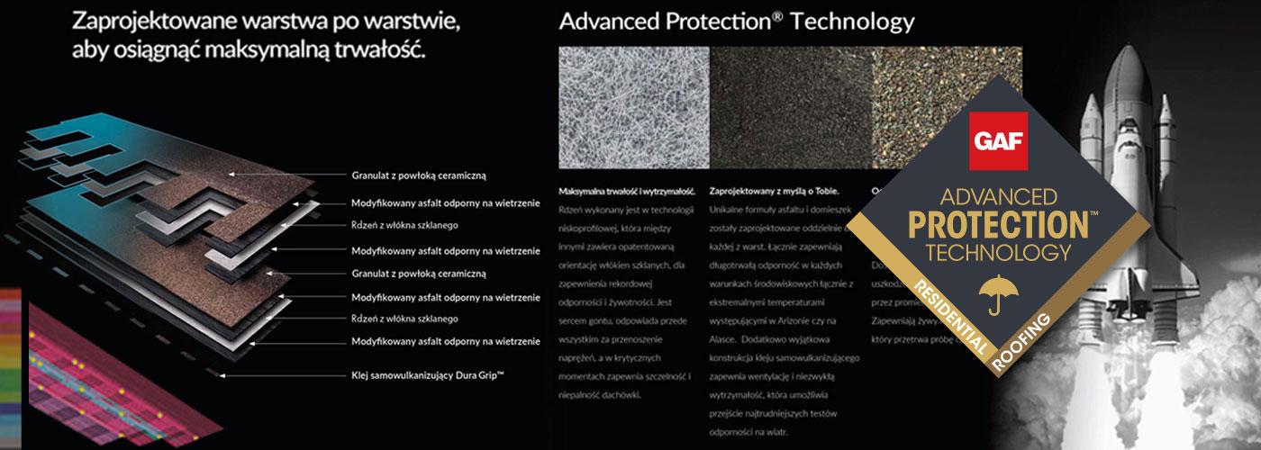 duży baner przełomowej technologii Advanced Protection Technology zaimplementowanej w pokryciach dachowych GAF