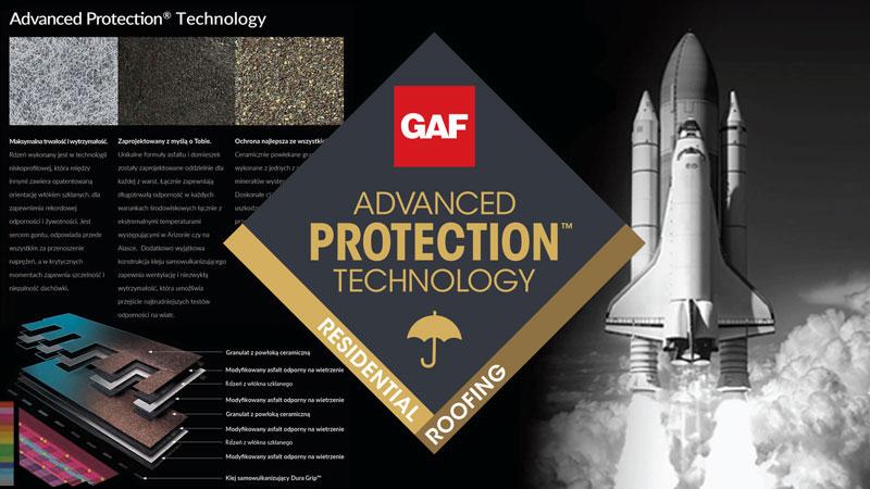 mały baner przełomowej technologii Advanced Protection Technology w dachach GAF GAF