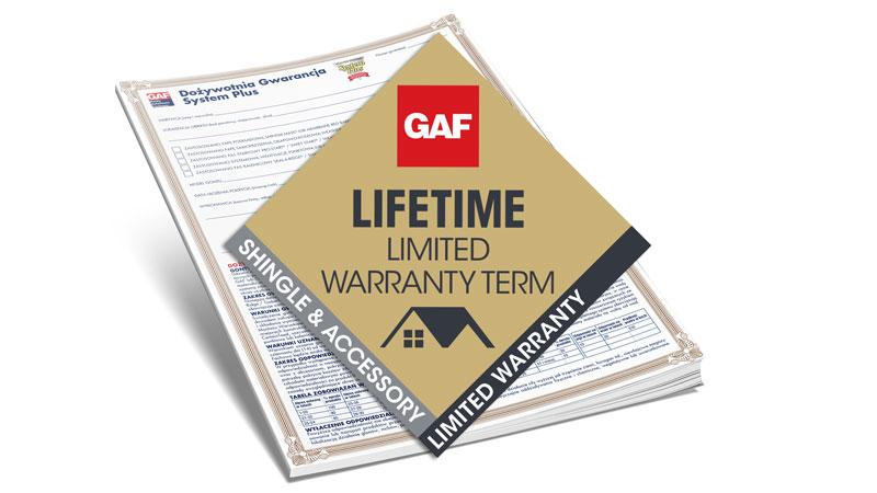 mały baner z dożywotnią gwarancją na pokrycia dachowe i gonty GAF