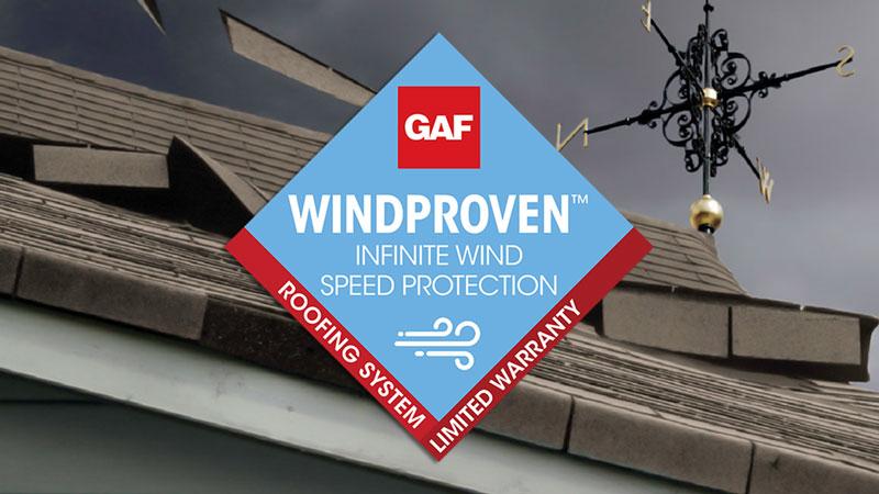 mały baner z logiem WindProven w pokryciach dachowych GAF