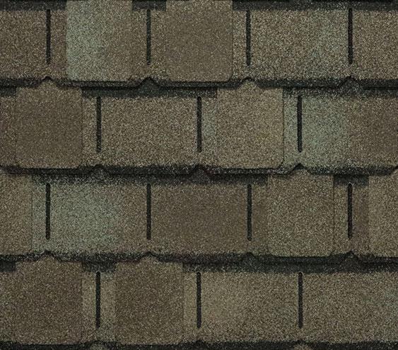 zdjęcie gontu amerykańskiego premium marki GAF z linii Camelot 2 w kolorze Weathered Timber