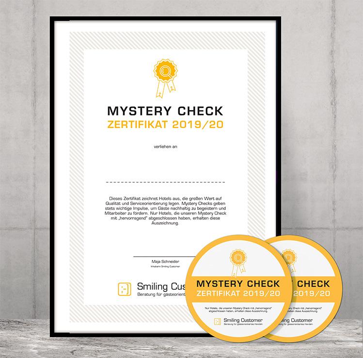 Mystery Check Zertifikat für Ihr Hotel