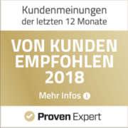 ProvenExpert Auzeichnung - Von Kunden empfohlen 2018