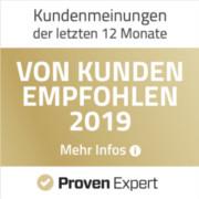 ProvenExpert Auzeichnung - Von Kunden empfohlen 2019