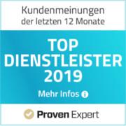 ProvenExpert Auzeichnung - Top Dienstleister 2019