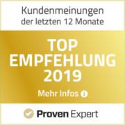 ProvenExpert Auzeichnung - Top Empfehlung 2019