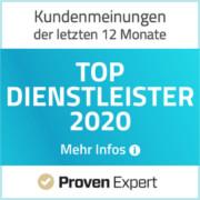 ProvenExpert Auzeichnung - Top Dienstleister 2020