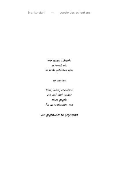 poesie des schenkens Branko Stahl Märchen Romane Lyrik