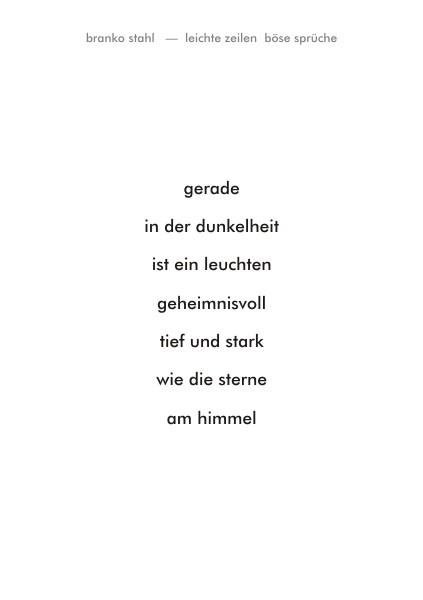 leichte zeilen böse sprüche Branko Stahl Märchen Romane Lyrik