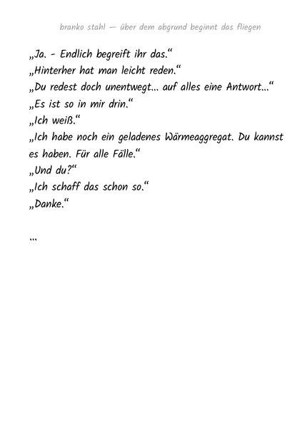 Über dem Abgrund beginnt dass Fliegen Branko Stahl Märchen Romane Lyrik