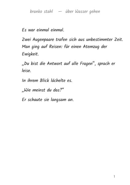 Über Wasser gehen Branko Stahl Märchen Romane Lyrik