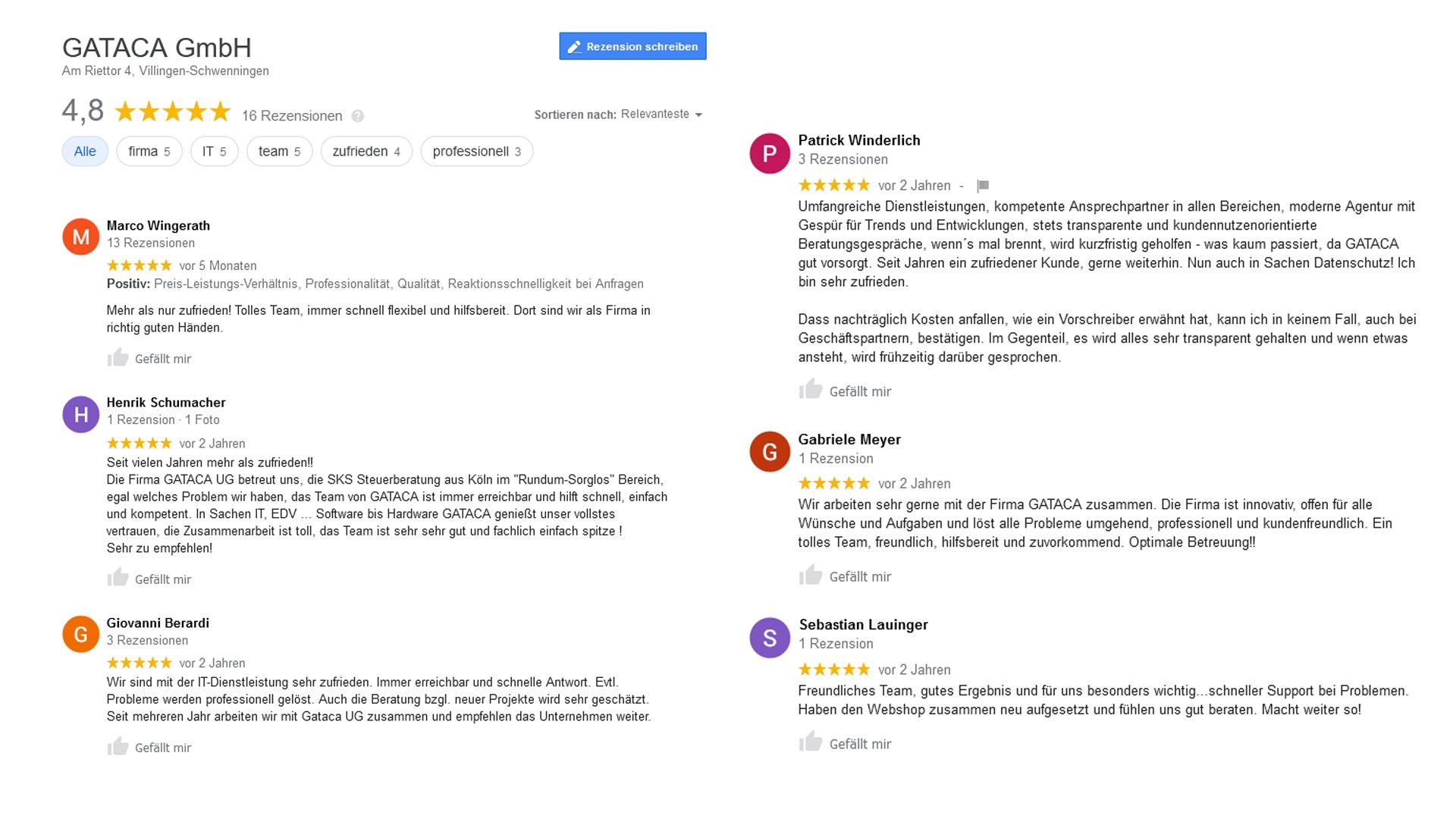 Bewertungen-und-Testimonials-GATACA-GoogleMyBusiness