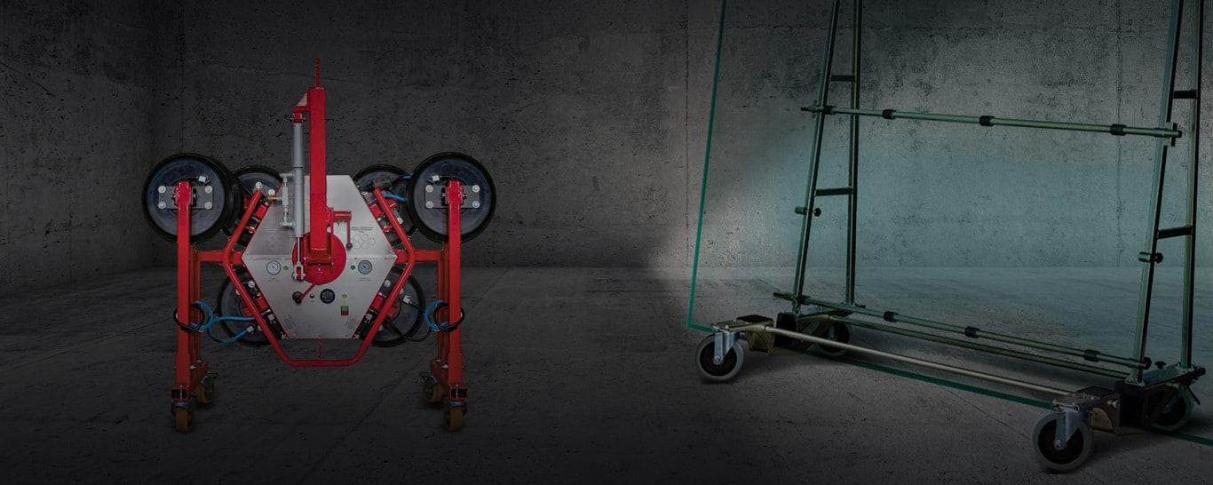 Glassauger, Vakuumsauger und Saugbatterie für Kran