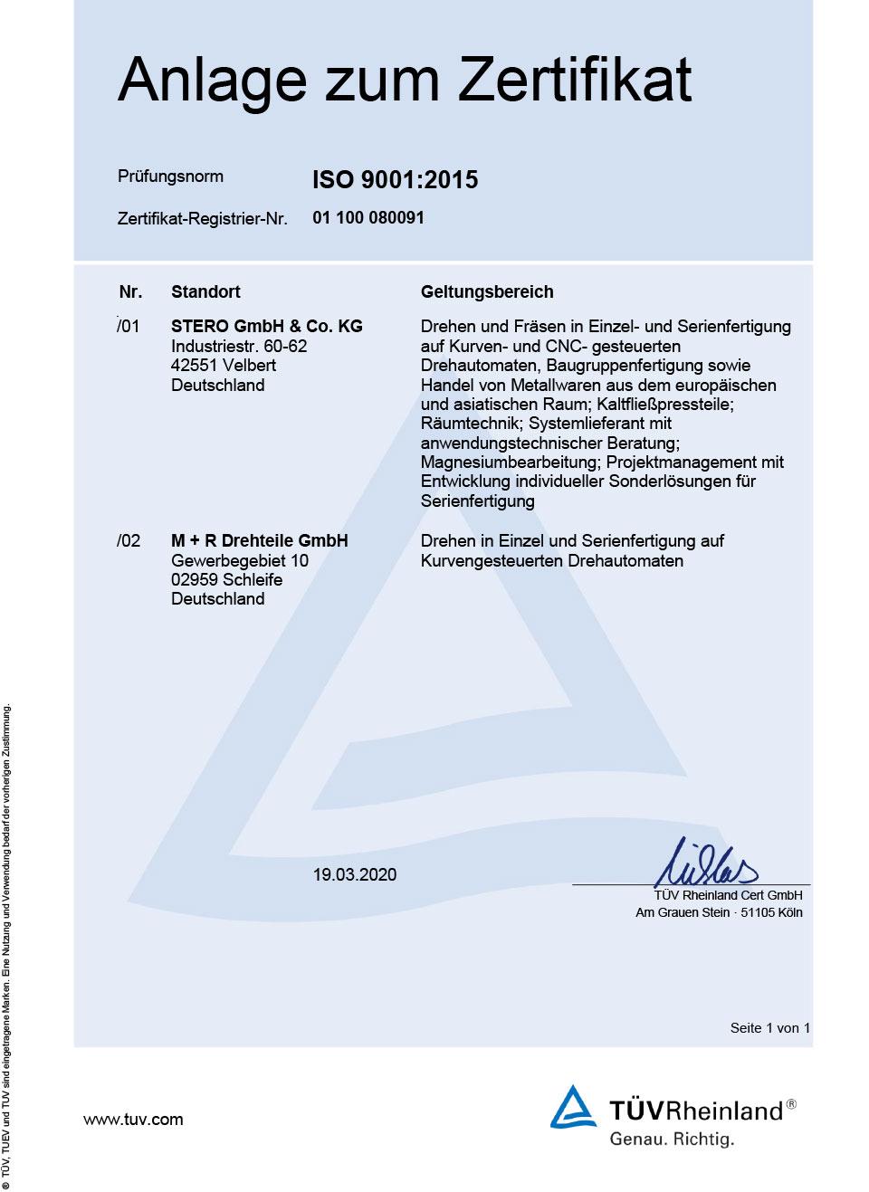 Zertifikat Anlage