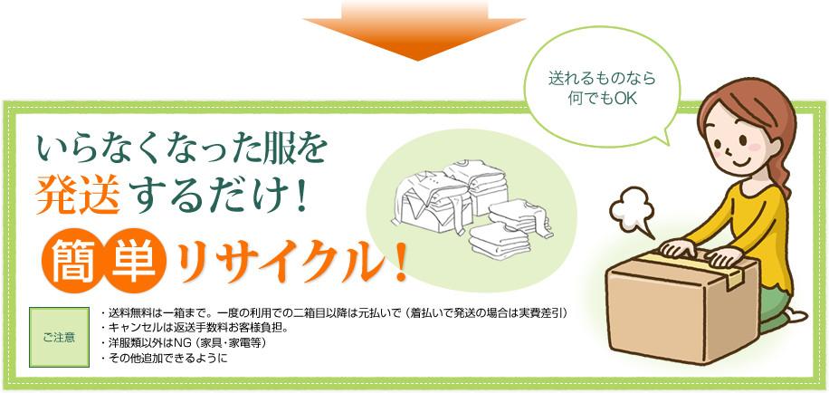 いらなくなった服を郵送するだけ! 簡単リサイクル! 送れるものなら何でもOK