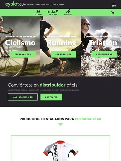 tienda online con Jimdo de artículos para el ciclista, versión tablet