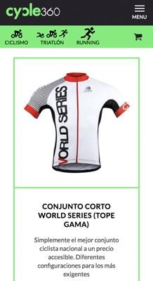 tienda online con Jimdo de artículos para el ciclista, versión móvil