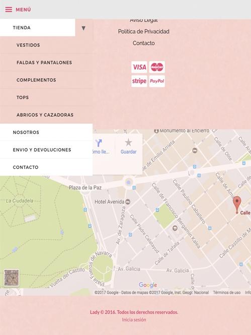 tienda online con Jimdo de moda, versión tablet