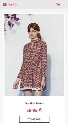 tienda online con Jimdo de moda, versión móvil
