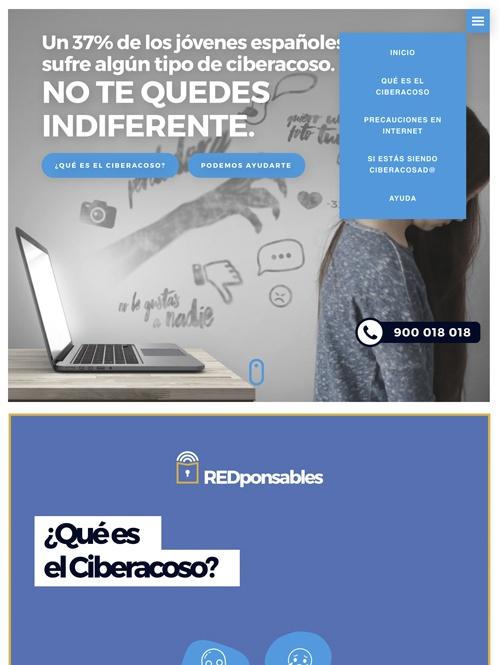 landing page con Jimdo campaña ciberacoso, versión tablet