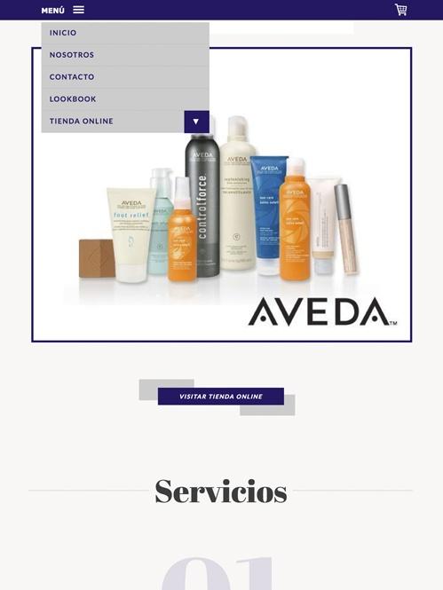 tienda online con Jimdo de artículos peluquería, versión tablet