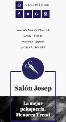 tienda online con Jimdo de artículos peluquería, versión móvil