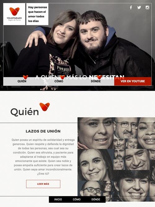 landing page con Jimdo campaña voluntariado, versión tablet