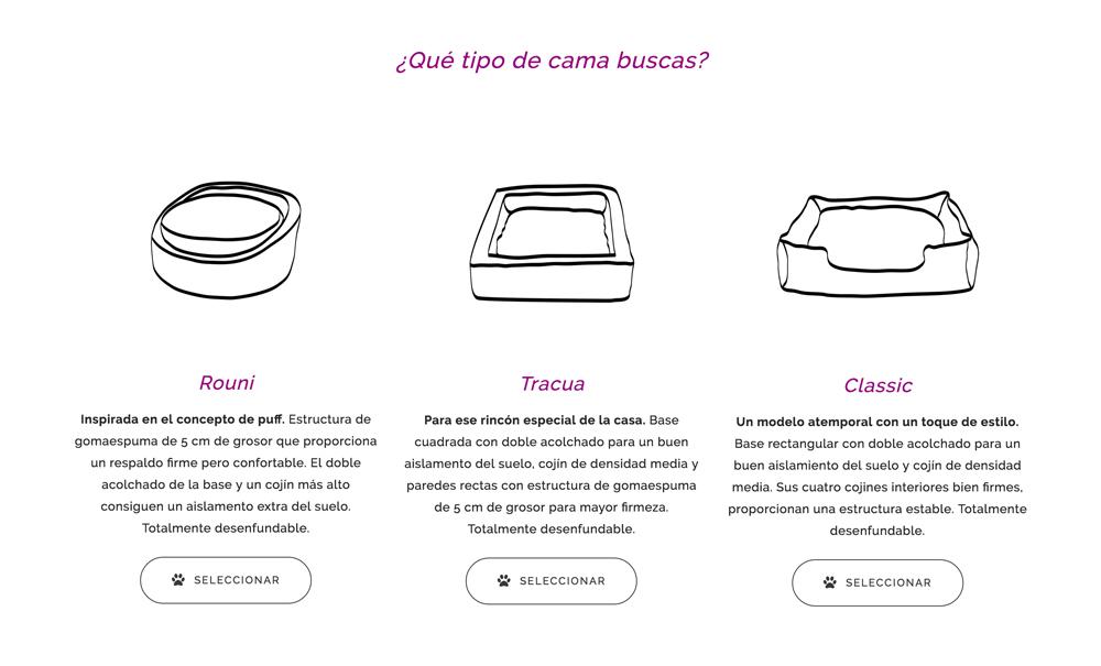 tienda online con Jimdo de camas para perros