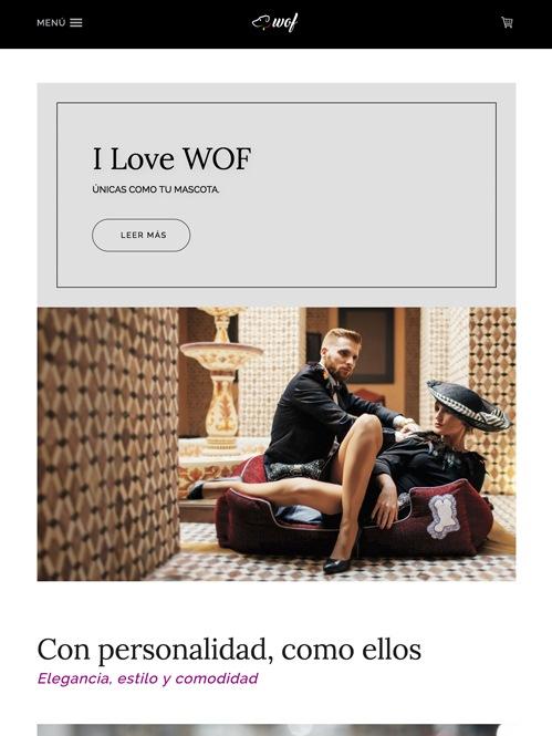 tienda online con Jimdo de camas para perros, versión tablet