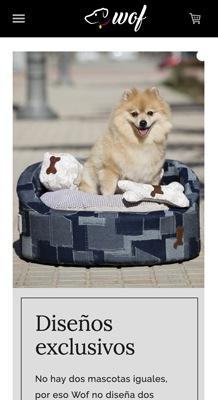 tienda online con Jimdo de camas para perros, versión móvil