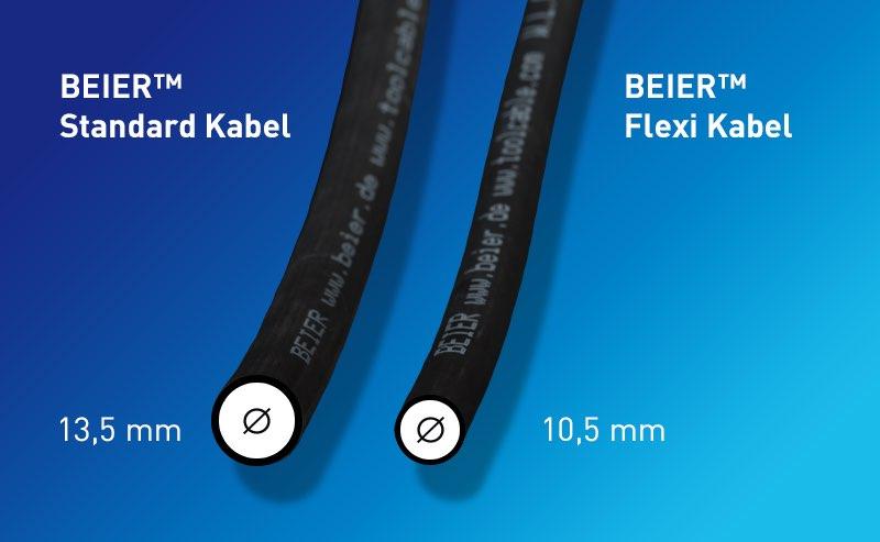 Hier sehen Sie den Vergleich zwischen ultra robustem, flexiblem BEIER™ Standardkabel und dem ultra leichtem und hoch flexiblem BEIER™ Flexi-Kabel. Beide Versionen sind verfügbar für BEIER™ High Performance Handschrauberkabel.