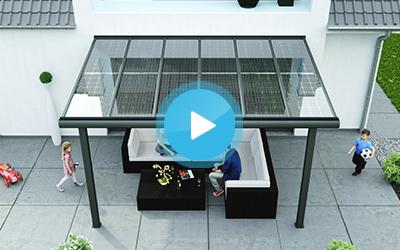 Solar terrassendach zur stromerzeugung