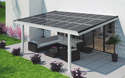 solar terrace roof shading electricity generation and weather protection premium solarglas. Black Bedroom Furniture Sets. Home Design Ideas