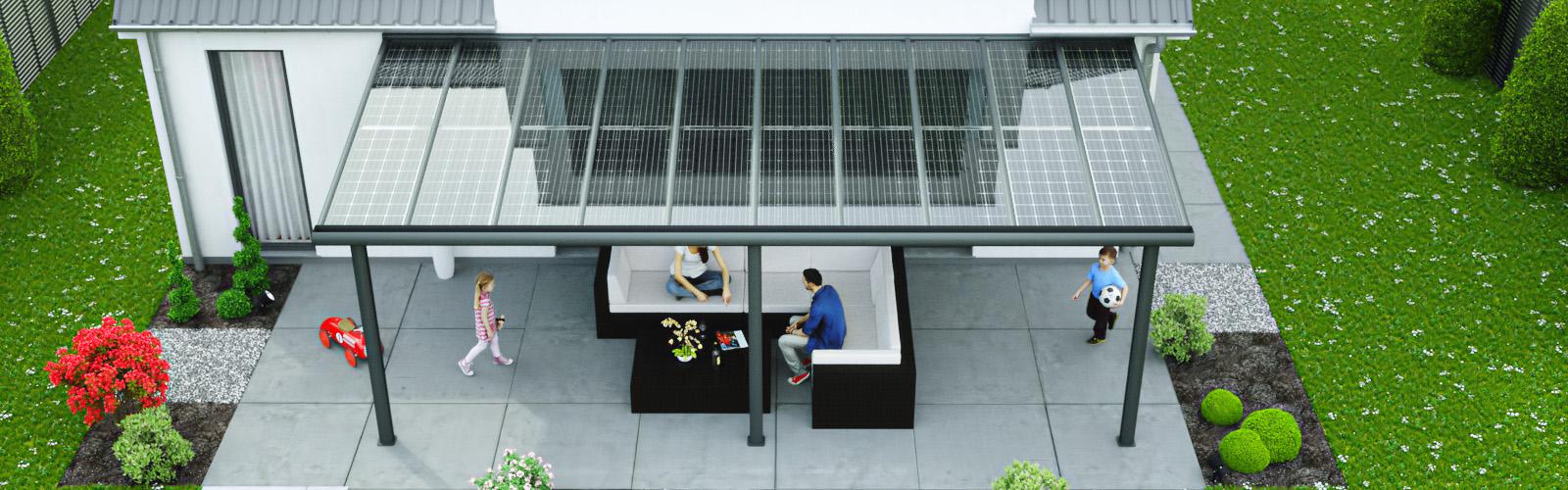 alu terrassendach 0 mit solar als sonnenschutz solarcarport. Black Bedroom Furniture Sets. Home Design Ideas