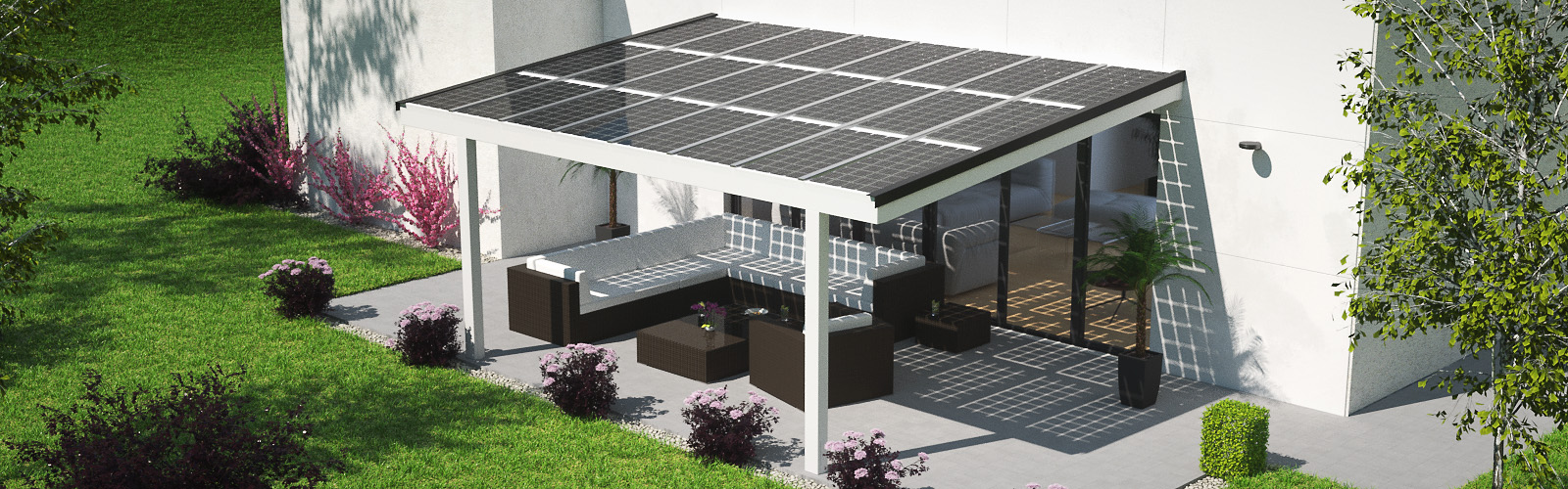 terrassen berdachung mit solar verschattung stromerzeugung witterungsschutz solarcarport. Black Bedroom Furniture Sets. Home Design Ideas