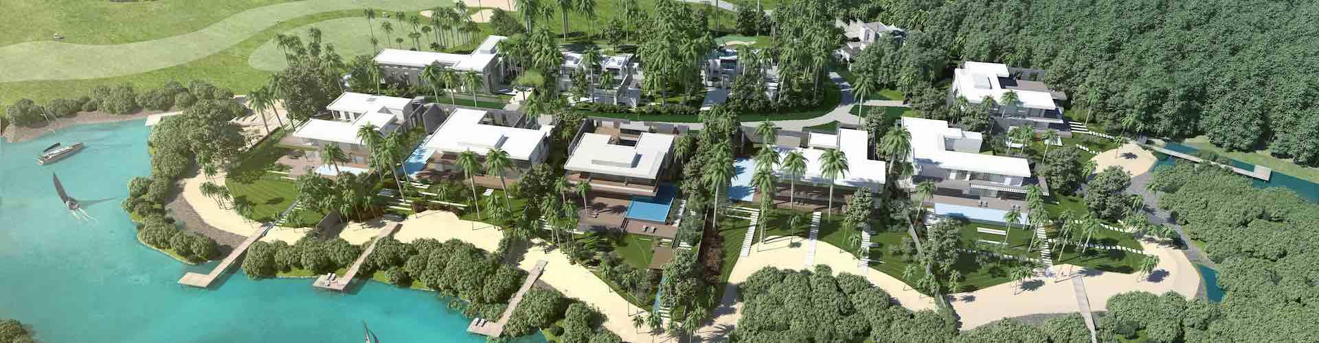 Villa sur golf vue mer avec ponton à bateau defiscalisation Jinvesty creation patrimoine immobilier etranger investissement immobilier ile maurice reduction fiscale etranger