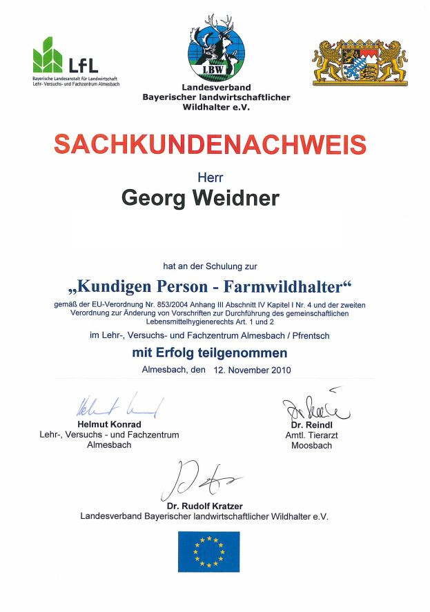 Farmwildhalter Georg Weidner