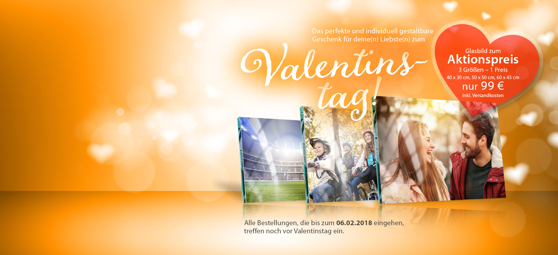 Glasbild als Geschenk zum Valentinstag online bestellen