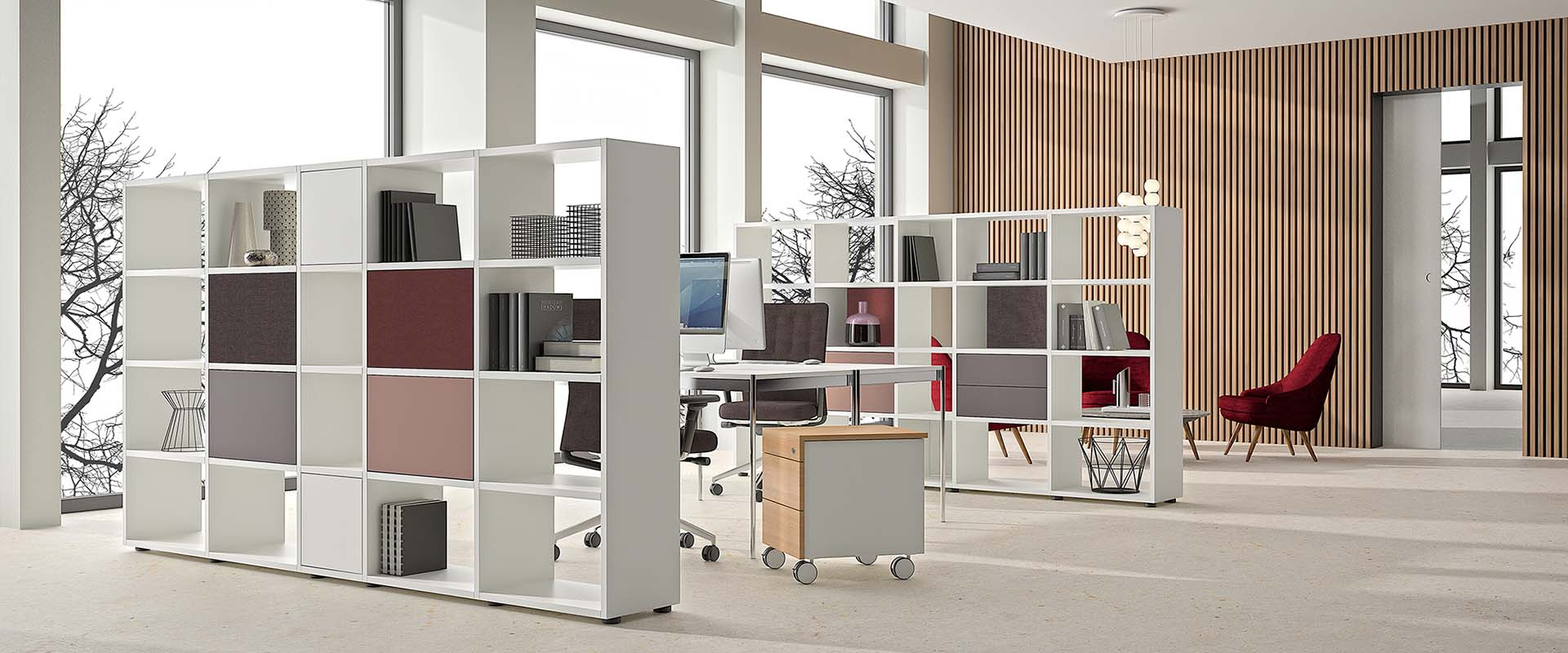 basic view Büroregale als Raumtrenner
