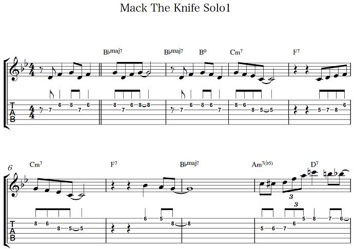 初心者OK ジャズギター入門 Mack The Knife アドリブ1