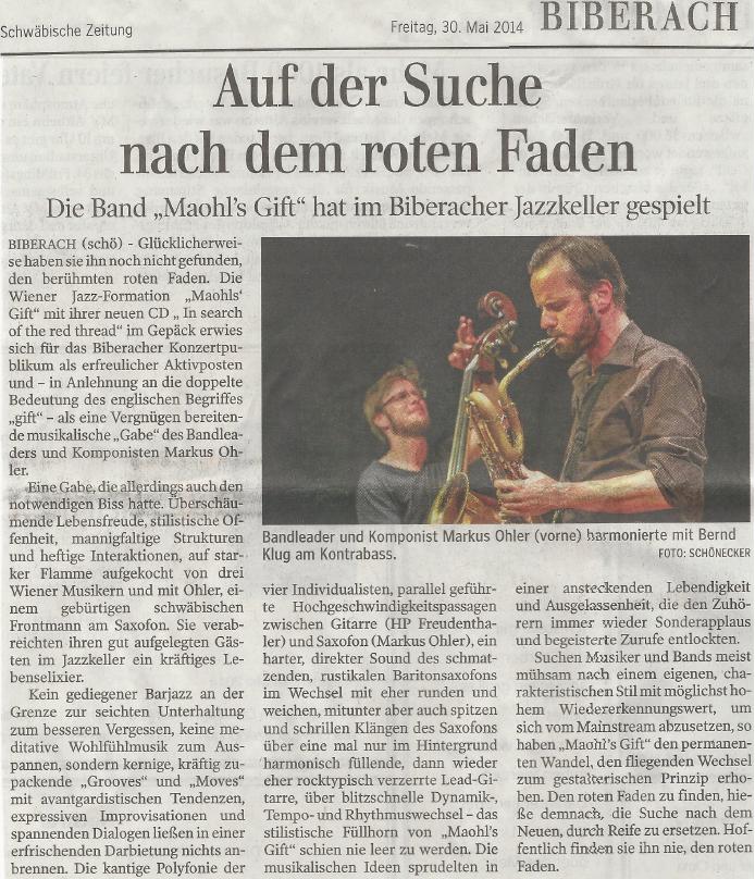 Maohl's GIFT, Maohl, Markus Ohler, Jazz, Saxophon, Wien, HP Freudenthaler, Bernd Klug, Hubert Bründlmayer Bruendlmayer