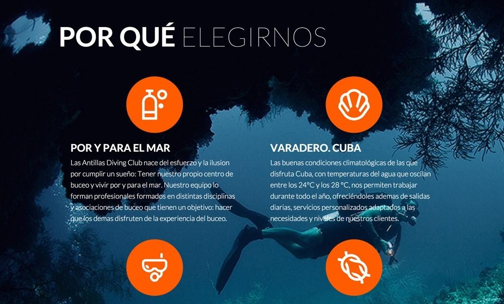 diseño web con Jimdo para club buceo