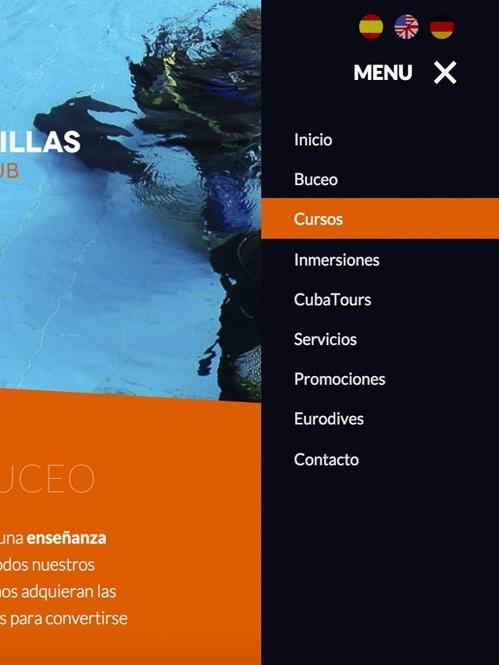 diseño web con Jimdo para club buceo, versión tablet