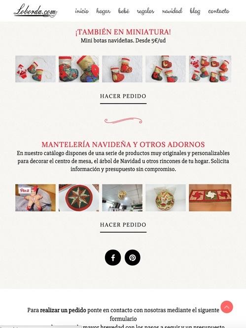 diseño web con Jimdo para tienda online de productos hechos a mano, versión tablet