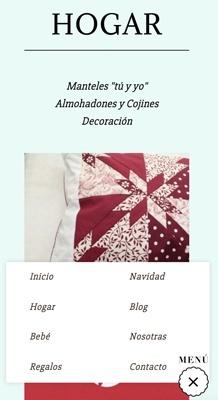 diseño web con Jimdo para tienda online de productos hechos a mano, versión móvil