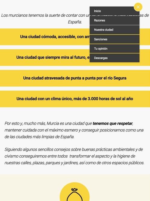 diseño web con Jimdo para para campaña de limpieza viaria de Ayuntamiento, versión tablet